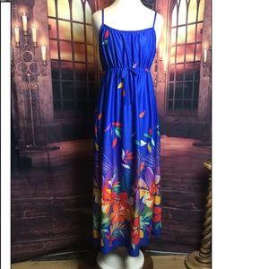 Vintage 70s Sundress Blue Floral Maxi M/L